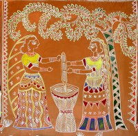 File:Women pounding grain, traditional wall painting by ...