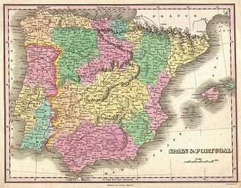 1827 Finely Map of Spain and Portugal - Geogra...