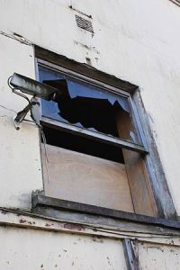 English: Broken window, Bridge Street, Straban...
