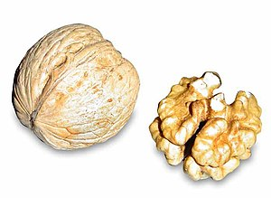 English: a walnut and a walnut core