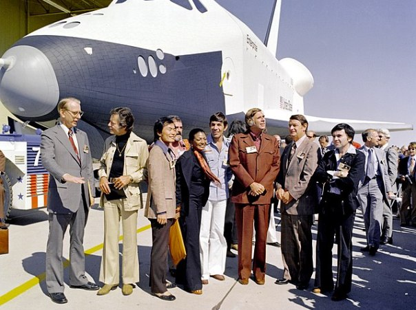 Photo: The cast from Star Trek poses in front of a prototype of space shuttle Enterprise.