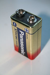 Photograph of a PP3 battery.