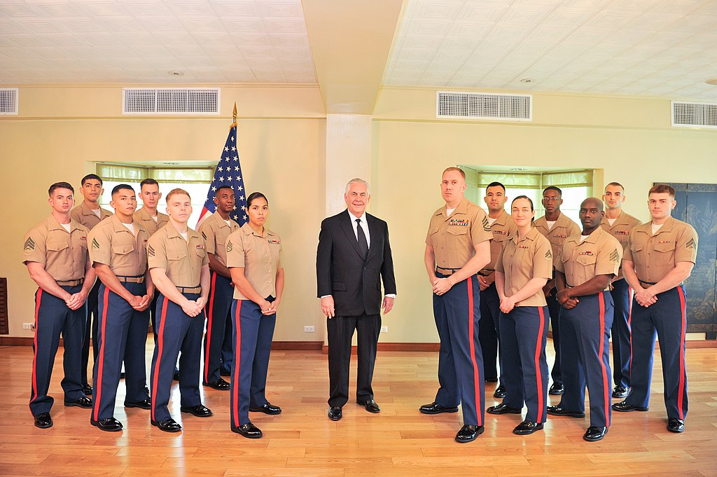 FileSecretary Tillerson Poses for a Photo with Marine Security