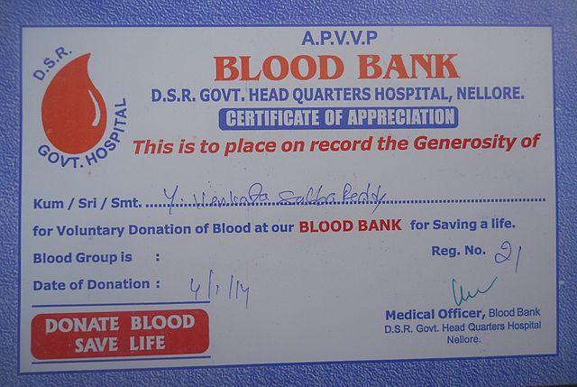 FileCertificate of Appreciation of BLOOD BANKJPG - Wikimedia Commons