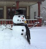 Graph Of A Classic Style Snowman In Scarf And Hat With Pipe And