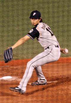 Yu Darvish begins his pitch.
