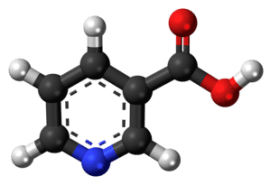 Ball-and-stick model of the niacin molecule, a...