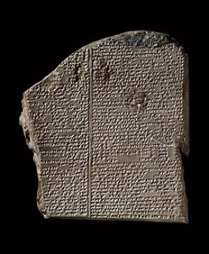 The Deluge tablet, carved in stone, of the Gil...