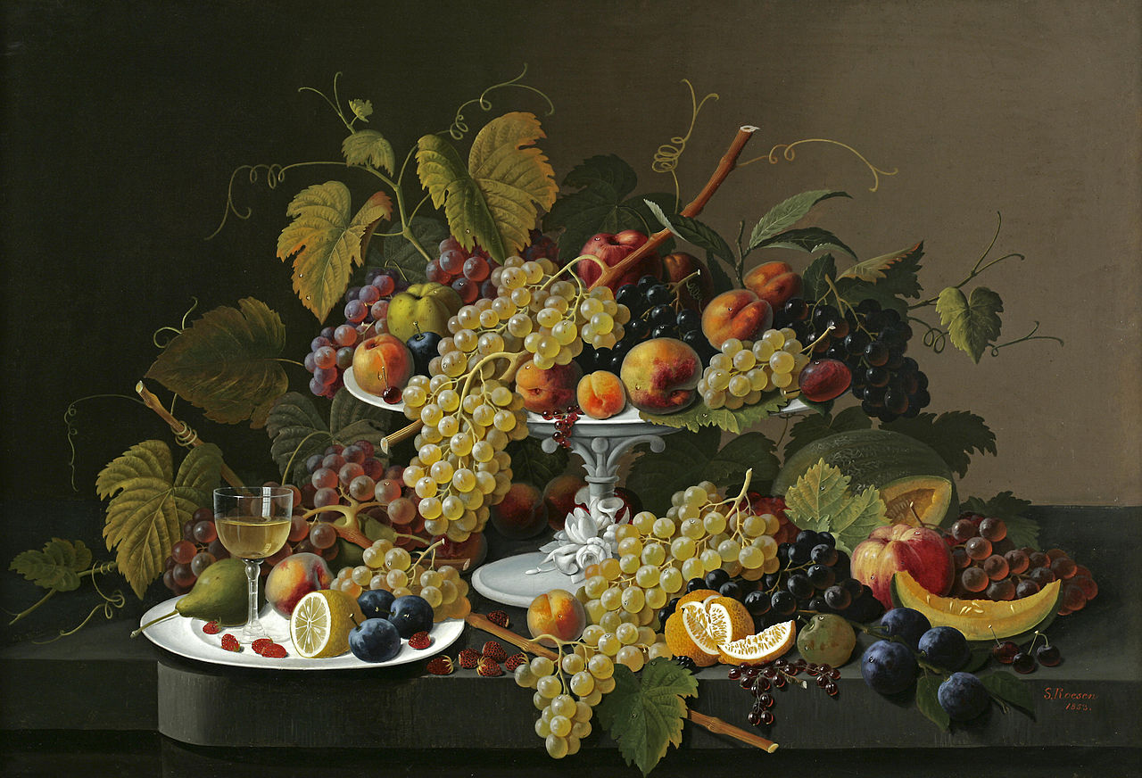 Nama Behang File Severin Roesen Still Life Of Fruit And Wine On A