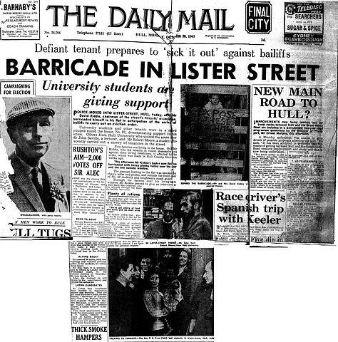 FileHull Daily Mail Headline, Barricades up in Lister Street, 24