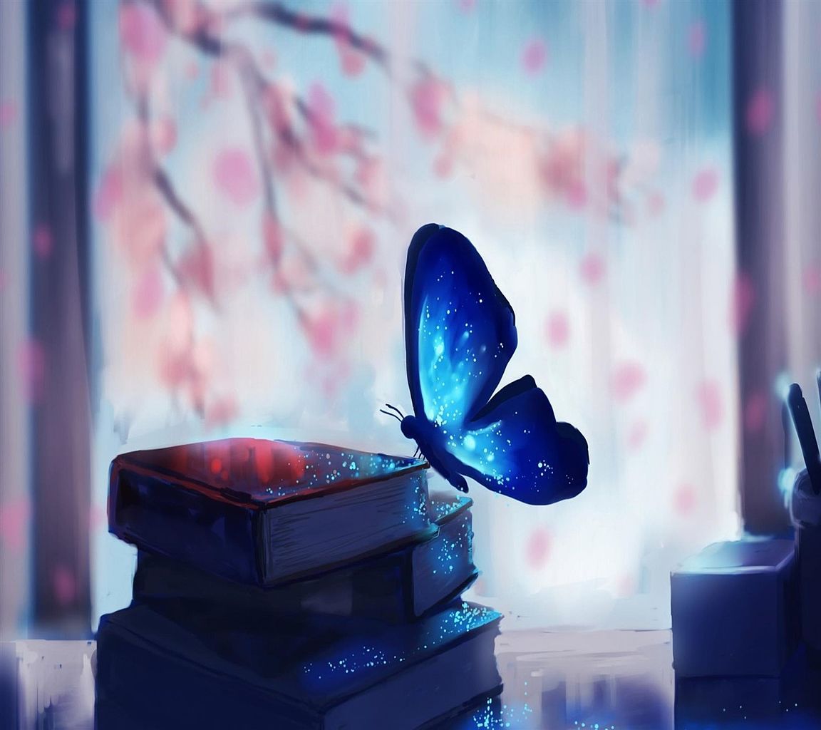 Good Morning Wallpaper With Cute Girl File Blue Butterfly Wallpaper 10553641 Jpg Wikimedia Commons