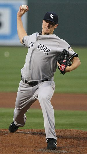Phil Hughes pitching on April 18, 2008 against...