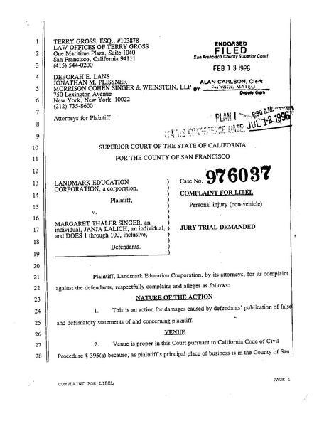 File1996 Landmark v Singer CA complaintpdf - Wikimedia Commons