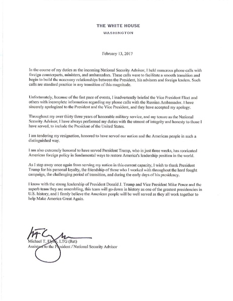 FileMichael Flynn Resignation Letterpdf - Wikipedia