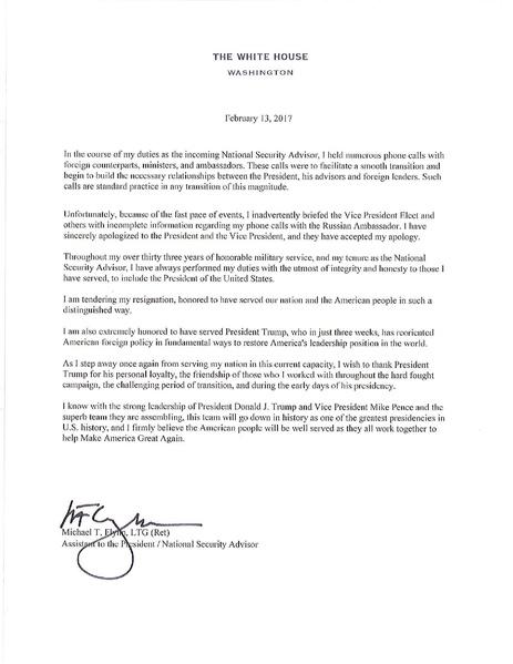 FileMichael Flynn Resignation Letterpdf - Wikipedia - Resignation Letter In Pdf