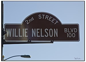 English: Willie Nelson boulevard sign. Former ...