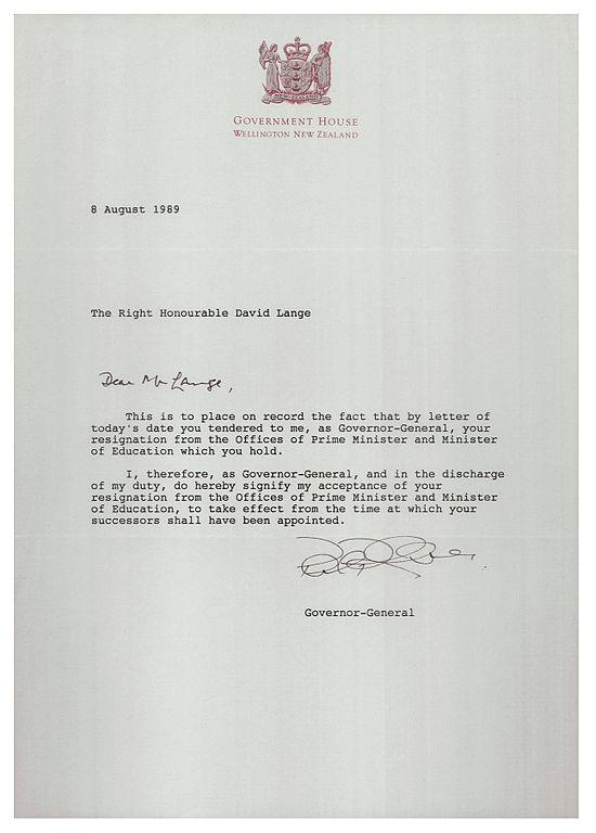FileLetter accepting resignation of David Lange as Prime Minister