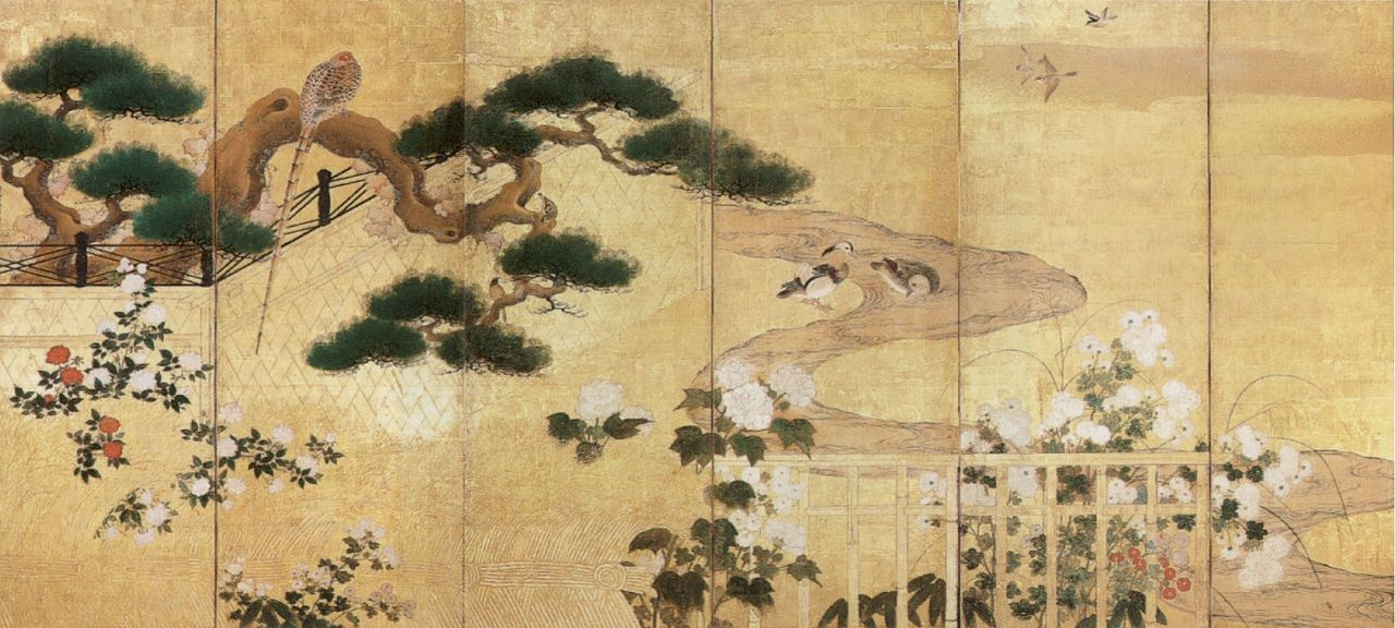 Chinese Dragon Wallpaper Hd File Birds And Flowers 2 One Of Two Six Panel Screens By