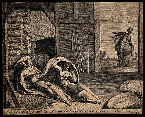 Ruth comes to take shelter under Boaz's cloak. Engraving. Wellcome V0034307