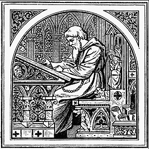 Medieval illustration of a Christian scribe wr...