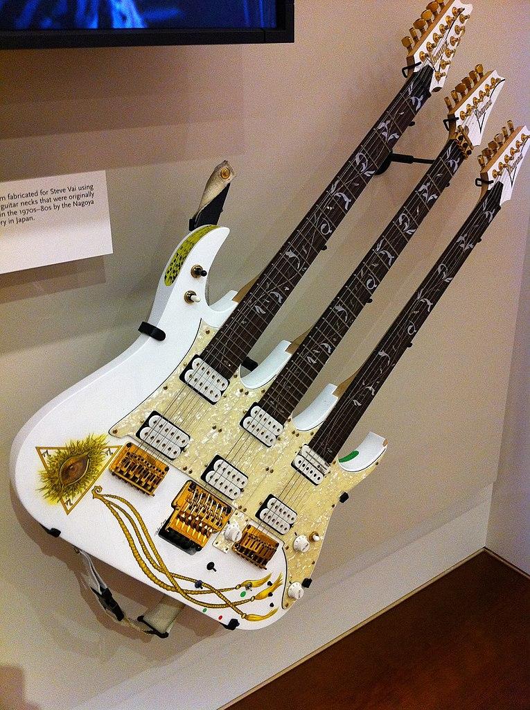 Electric Blue Wallpaper Hd File Steve Vai S Ibanez Triple Neck Guitar Mim Phx Jpg