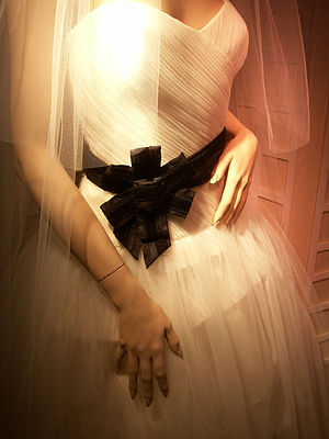 Detail of a Vera Wang wedding dress.