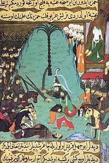 Siyer-i Nebi - Imam Ali und Hamza bei dem vorgezogenen Einzelkampf in Badr gegen die Götzendiener.jpg