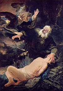 An angel prevents the sacrifice of Isaac.