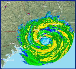 Radar image of Hurricane Ike at landfall. HGX ...
