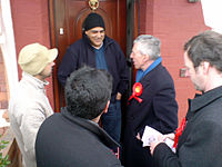 Jack Straw on the doorstep with local councill...