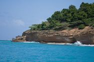 View of the rocky shoreline in Antigua