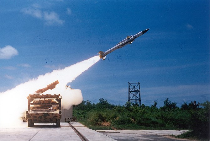 Test firing of the Akash missile. A medium-ran...