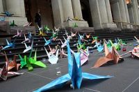 Peace Cranes on the GPO steps