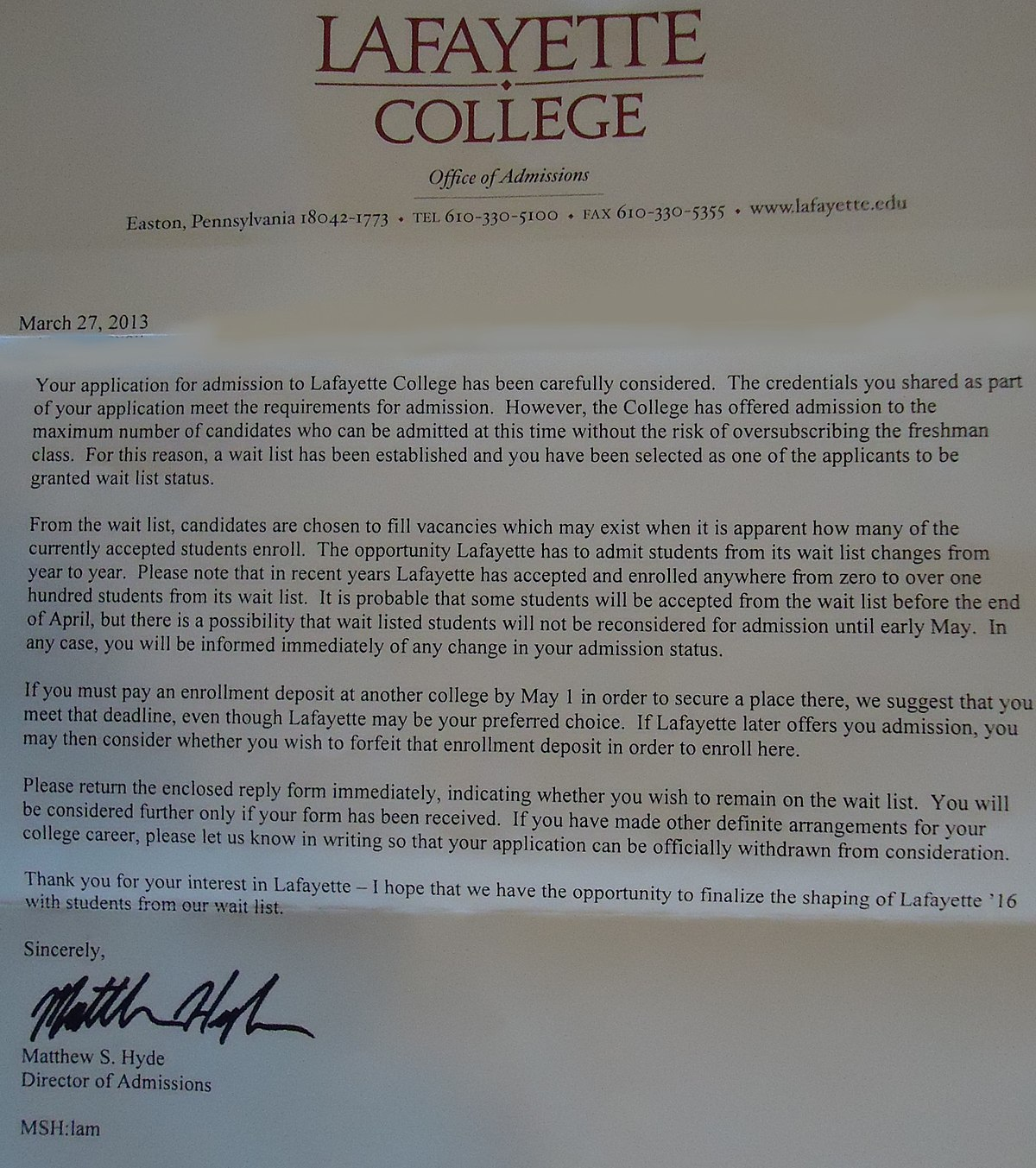 admissions cover letters