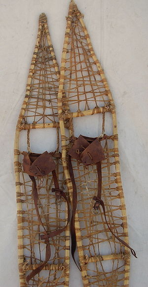 Pair of traditional rawhide snowshoes