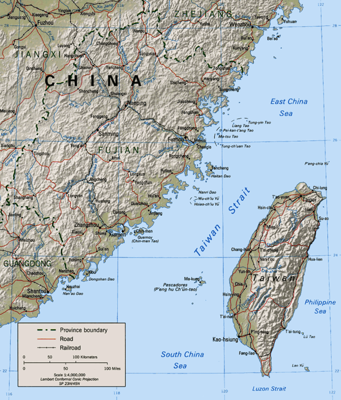 Map of the Taiwan Strait