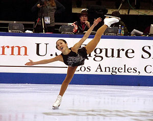Michelle Kwan performs her signature spiral at...