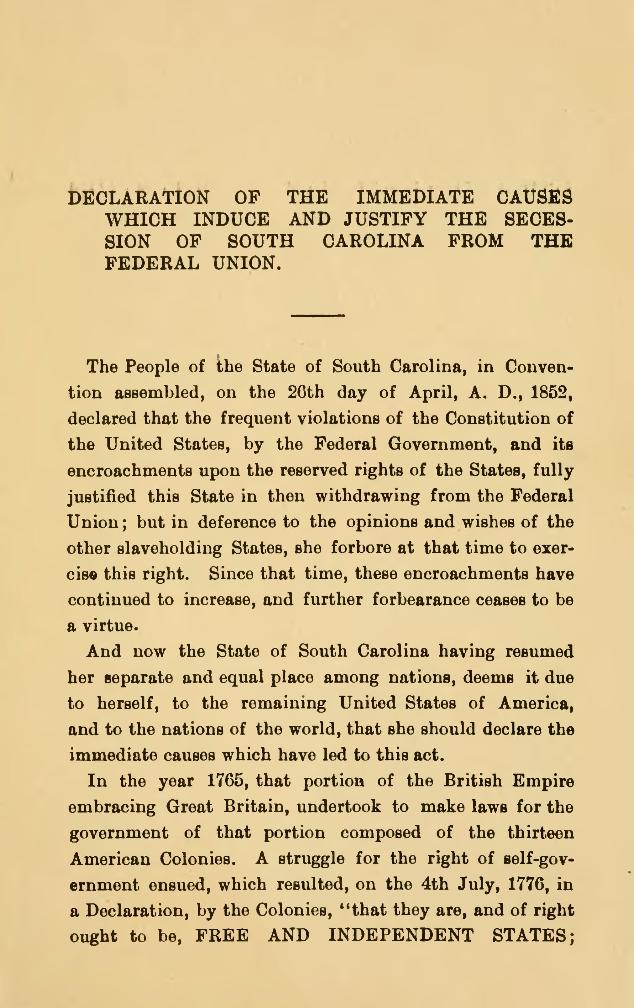 Read The Book Online Page:south Carolina Declaration And Ordinance Of Secession