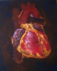 "Painting of a heart (anatomical, not ""hea..."