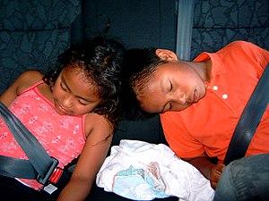 Nederlands: Slapende kinderen in een auto. Eig...