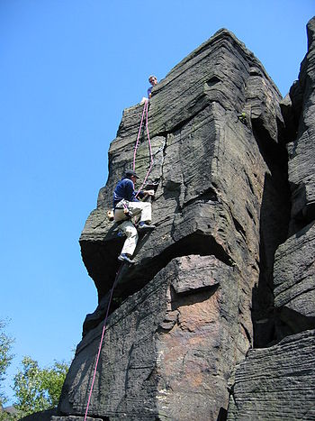 English: Rock climbing on Wharncliffe crag