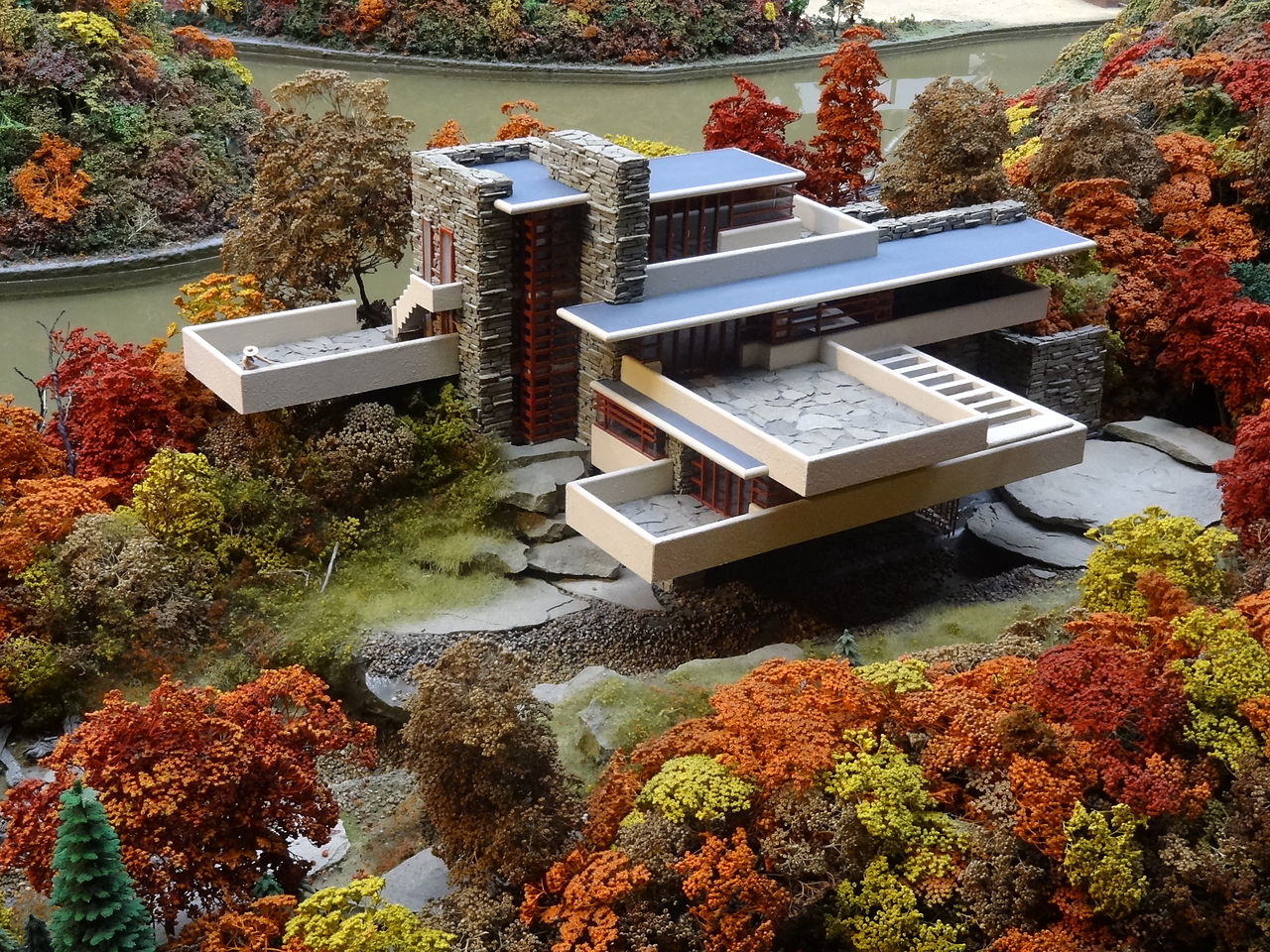 Falling Water House Usa File Fallingwater Miniature Model At Mrrv Carnegie Science Center