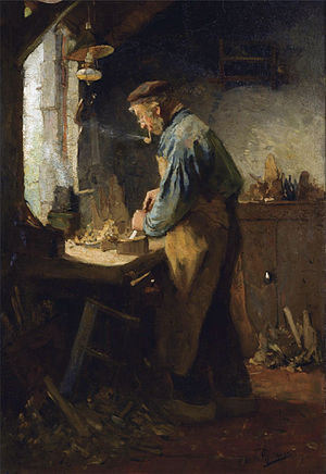 English: The village carpenter 70 x 49 cm. sig...