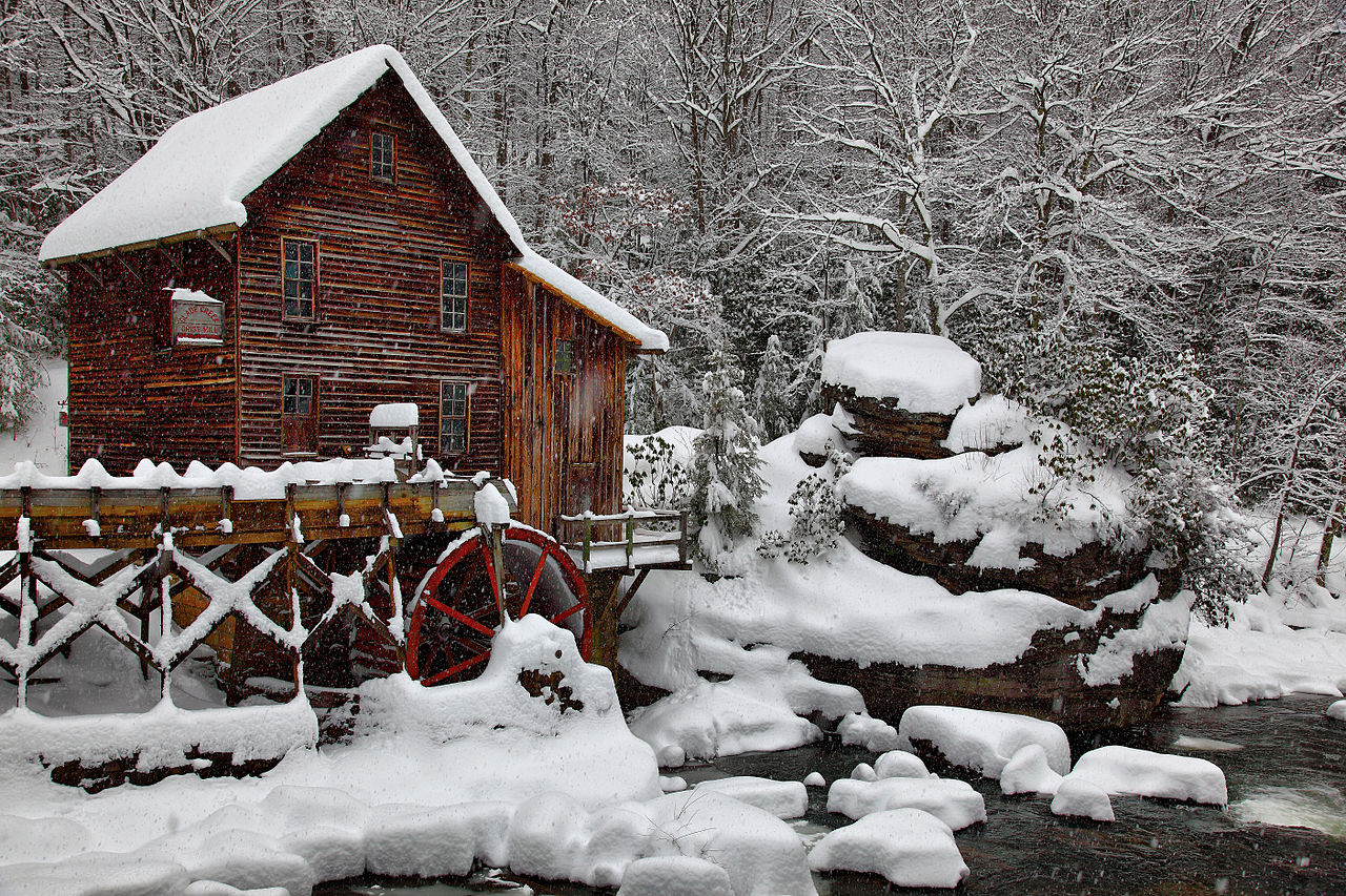 Fall Tree And Black Fence Wallpaper File Winter Snow Falling Glade Creek Gristmill Picture