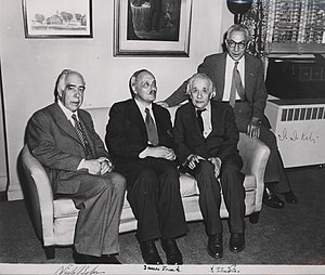 Portrait of Albert Einstein, Niels Bohr, James...