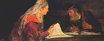 English: Esther and Mordechai writing the seco...