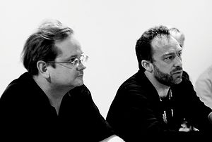 Lawrence Lessig and Jimmy Wales at the iCommon...