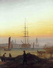 CD Friedrich: Schiffe im Hafen von Greifswald