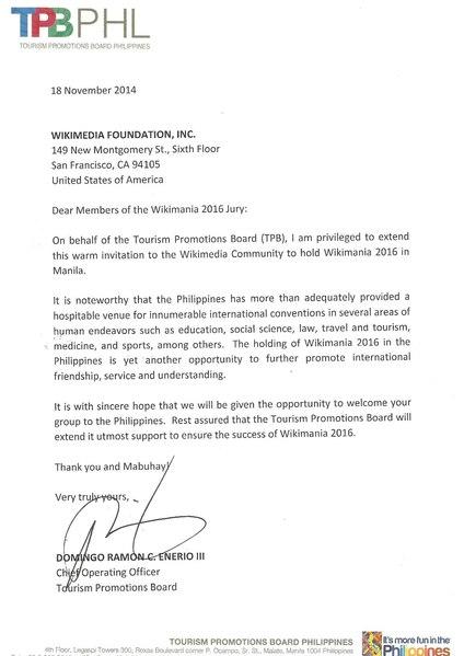FileWikimania Manila 2016 endorsement letter - Tourism Promotions - endorsement letter