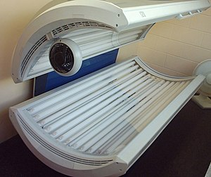 A sunbed, with lights off.